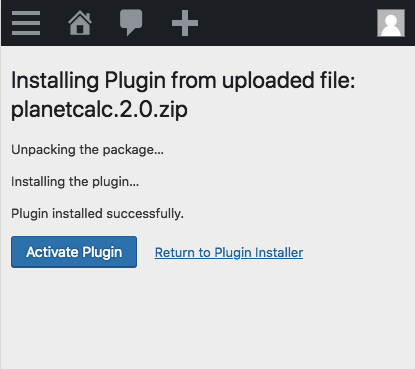Activate plugin in WordPress